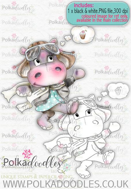 Helga Hippo Follow Your Dreams - download digi stamp