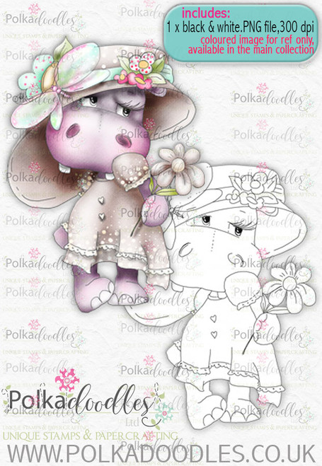 Helga Hippo - blush - download digi stamp