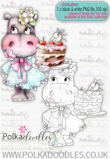 Helga Hippo bring the cake download digital stamp for any papercrafting