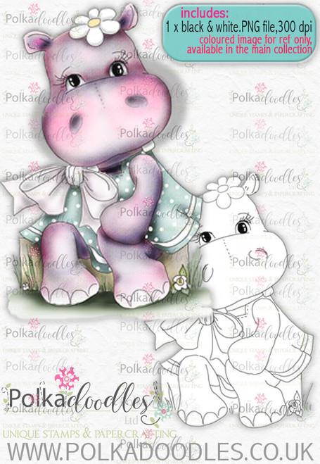 Helga Hippo -Sitting Pretty - download digi stamp