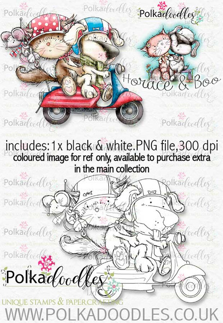 Scooting Around - Horace & Boo download printable stamp