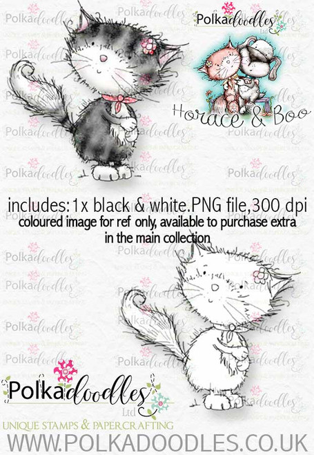 Fuzzy Boo - an adorable cat digital stamp