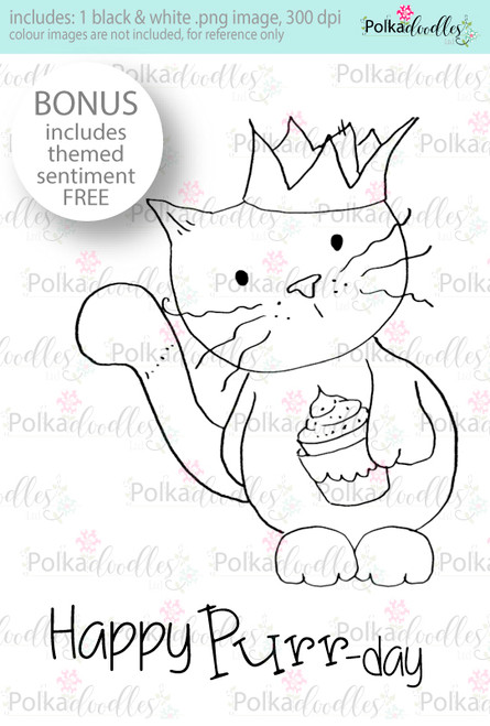 Happy Purr-day Cat/Kitty ...Craft Digital stamp download with FREE Sentiment