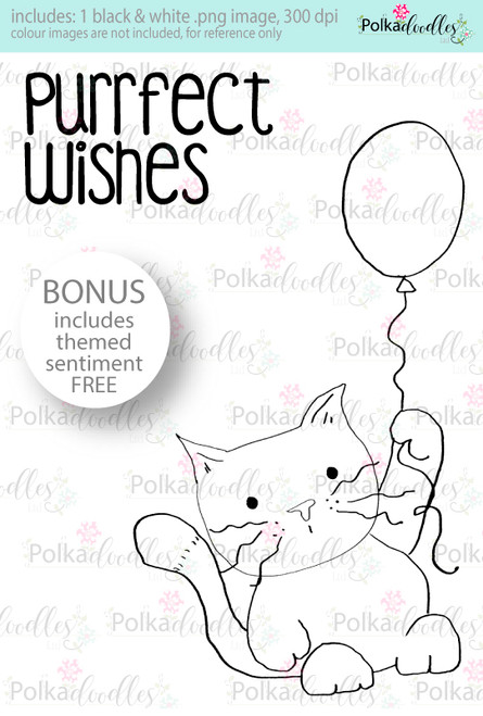 Purr-fect Kitty Cat wishes...Craft Digital stamp download with FREE Sentiment