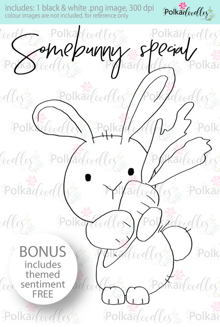 You're Some Bunny special rabbit...Craft Digital stamp download with FREE Sentiment