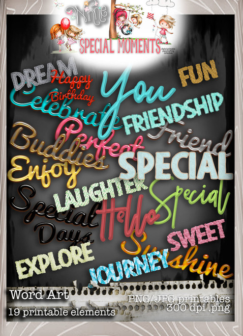 Word Art - Winnie Special Moments...Craft printable download digital stamps