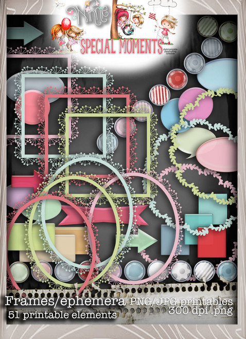 Frames/Ephemera elements Winnie Special Moments...Craft printable download digital stamps/digi scrap kit