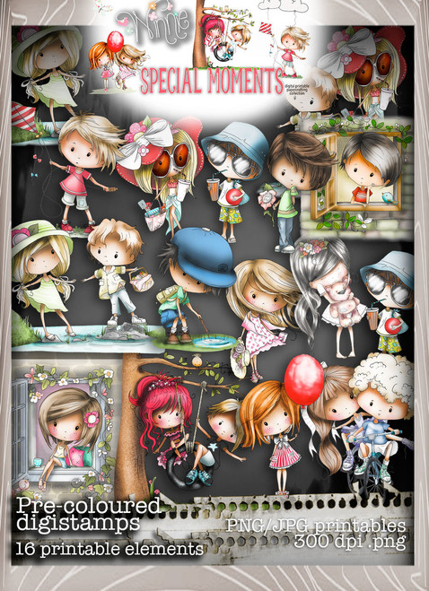 Pre-Coloured Digital Stamps - Winnie Special Moments...Craft printable download digital stamps/digi scrap kit