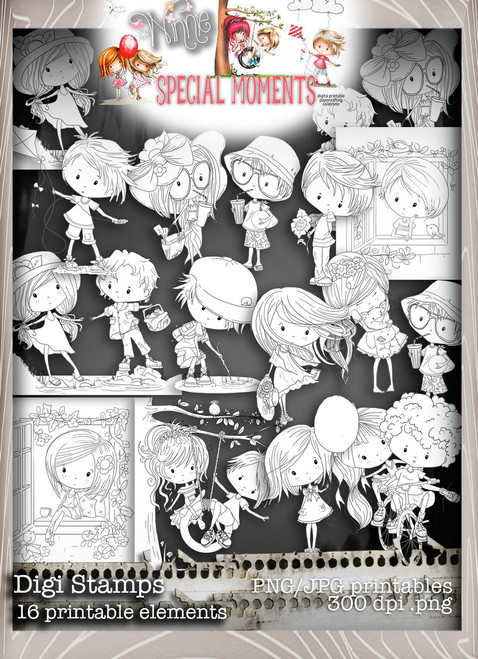 Black and white adult coloring Digital Stamps, incredible value 50% saving - Winnie Special Moments...Craft printable download digital stamps/digi scrap kit