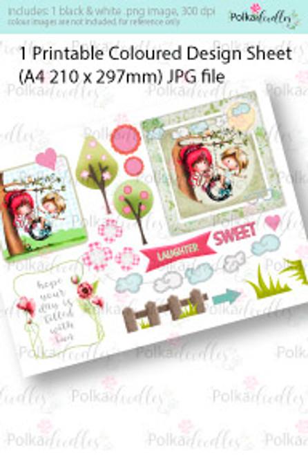 Tyre Swing Coloured Card making Design Sheet - Winnie Special Moments...Craft printable download digital stamps/digi scrap kit
