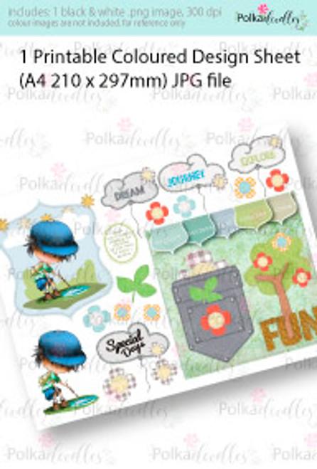 The great Explorer Backpack Boy. Coloured Card making Design Sheet - Winnie Special Moments...Craft printable download digital stamps/digi scrap kit