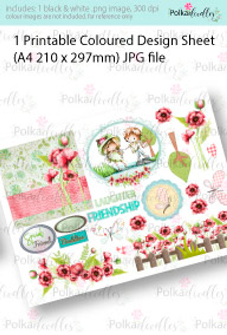 Stepping Stones over the Stream Boy and Girl. Coloured Card making Design Sheet - Winnie Special Moments...Craft printable download digital stamps/digi scrap kit