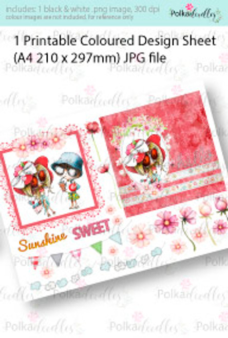 Cooling off, going to the beach, sunshine. Coloured Card making Design Sheet - Winnie Special Moments...Craft printable download digital stamps/digi scrap kit