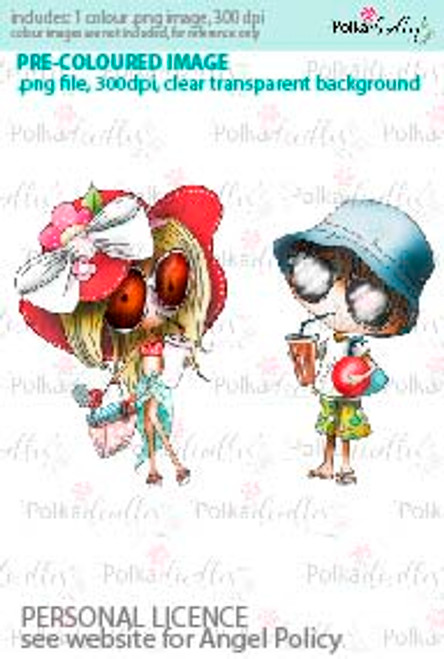 Girl and Boy drinking soda pop with a sun hat going to the beach coloured digital stamp/clipart- Winnie Special Moments...Craft printable download digital stamps/digi scrap kit