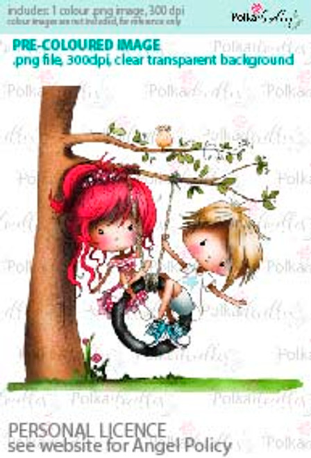 Boy and Girl on a Tyre Swing on a tree coloured digital stamp/clipart- Winnie Special Moments...Craft printable download digital stamps/digi scrap kit