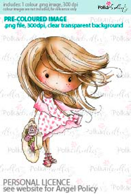 WIndswept Winnie Hang onto your hat coloured digital stamp/clipart- Winnie Special Moments...Craft printable download digital stamps/digi scrap kit