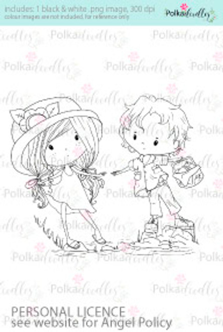 Girl and Boy stepping stones coloured digital stamp/clipart- Winnie Special Moments...Craft printable download digital stamps/digi scrap kit
