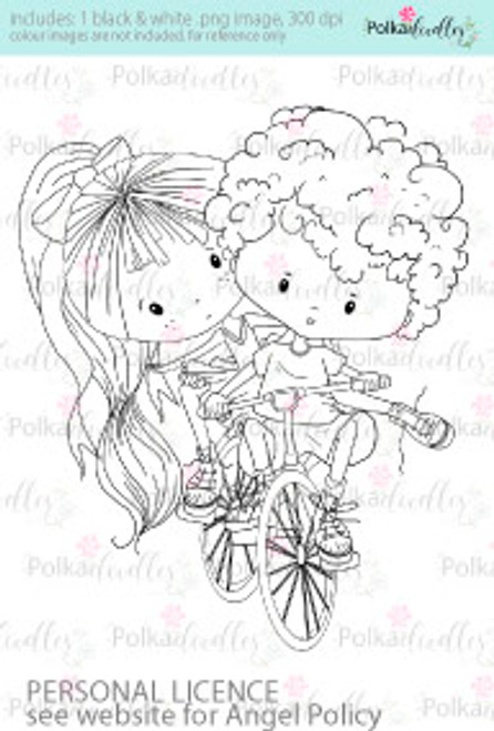 Bicycle made for two, tandem bike ride coloured digital stamp/clipart- Winnie Special Moments...Craft printable download digital stamps/digi scrap kit
