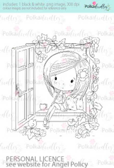 Girl thinking, contemplating, looking out of window coloured digital stamp/clipart- Winnie Special Moments...Craft printable download digital stamps/digi scrap kit