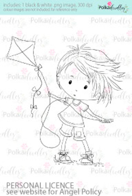 Let's Fly a Kite boy coloured digital stamp/clipart- Winnie Special Moments...Craft printable download digital stamps/digi scrap kit