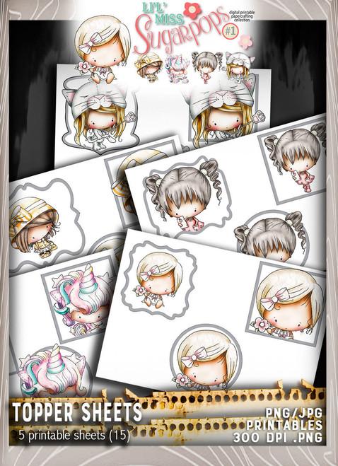 5 sheets of Topper sheets (5 sheets x 3 per sheet) - Lil Miss Sugarpops Kit 1...Craft printable download digital stamps/digi scrap kit