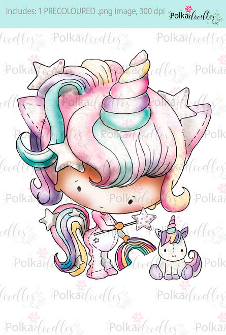 Lil Miss Unicorn - Sugarpops Kit 1...Craft printable download digital stamps/digi scrap kit