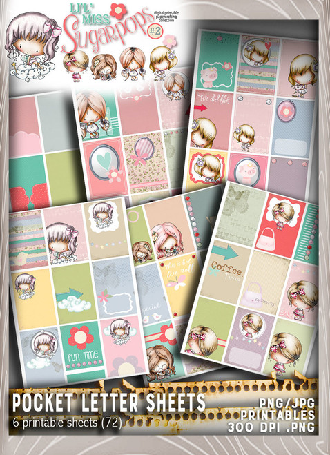 Pocket Letter pages - Lil Miss Sugarpops Kit 2...Craft printable download digital stamps/digi scrap kit
