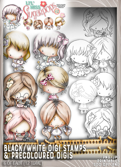 10 Digi Stamps (5 black/white plus 5 pre coloured) - Lil Miss Sugarpops Kit 2...Craft printable download digital stamps/digi scrap kit