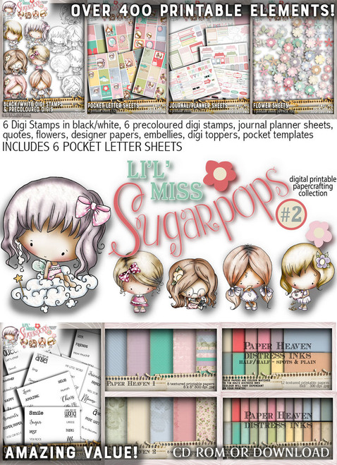Lil Miss Sugarpops Kit 2 Big bundle...Craft printable download digital stamps/digi scrap kit
