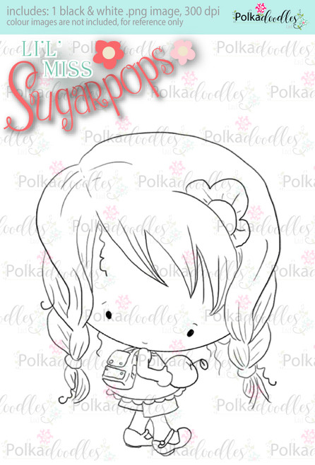 An Apple A Day/Teacher/School digi stamp - Lil Miss Sugarpops 3...Craft printable download digital stamps/digi scrap