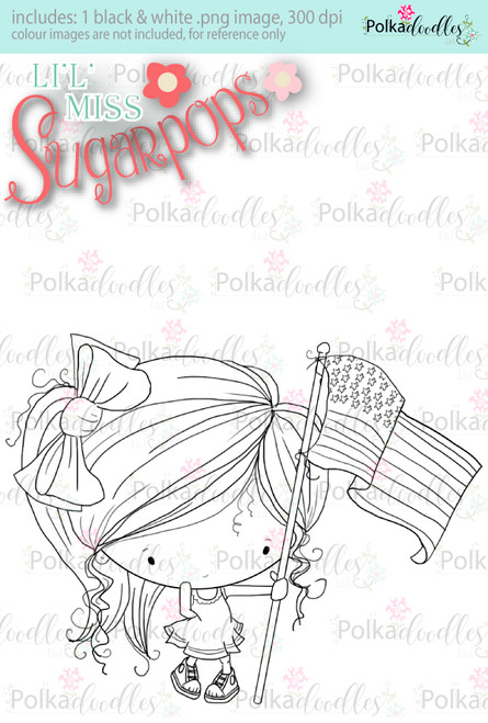 USA/4th July/Flag digi stamp - Lil Miss Sugarpops 3...Craft printable download digital stamps/digi scrap