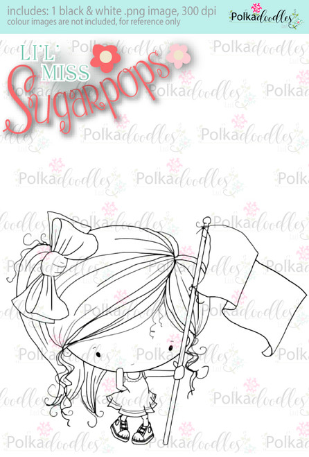 Flying the Flag digi stamp - Lil Miss Sugarpops 3...Craft printable download digital stamps/digi scrap
