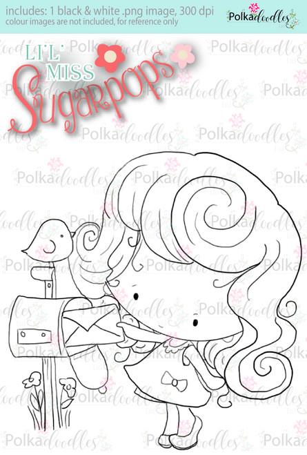 Mailing a Letter digi stamp - Lil Miss Sugarpops 3...Craft printable download digital stamps/digi scrap