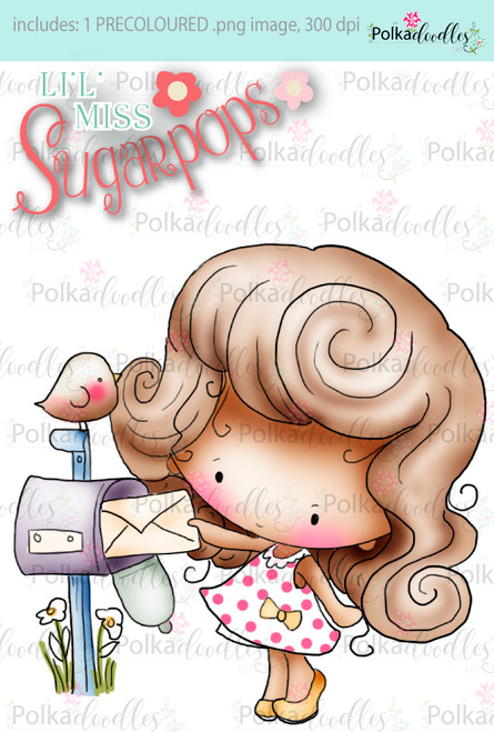 Mailing a Letter precoloured digi stamp - Lil Miss Sugarpops 3...Craft printable download digital stamps/digi scrap