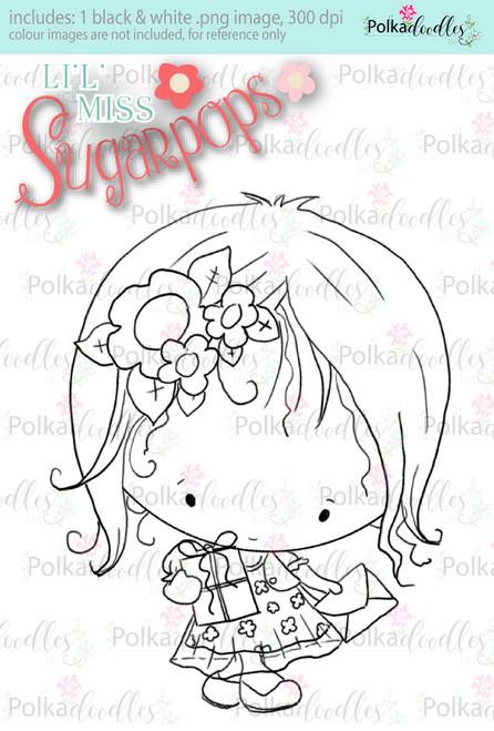 Party Dress/Gifts digi stamp - Lil Miss Sugarpops 3...Craft printable download digital stamps/digi scrap