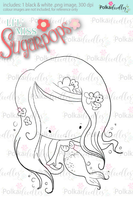 L'i'l Miss Mermaid digi stamp - Lil Miss Sugarpops 3...Craft printable download digital stamps/digi scrap