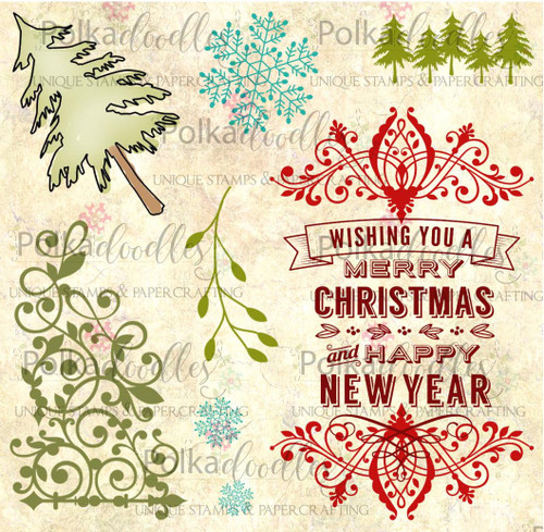 Christmas Sentiment Flourish -  Clear Stamp Set