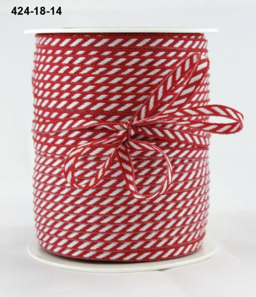 Red Stripe woven ribbon/cord 1m