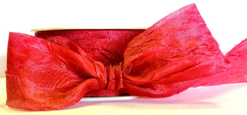 Red Silky Crush 38mm luxury ribbon 1m