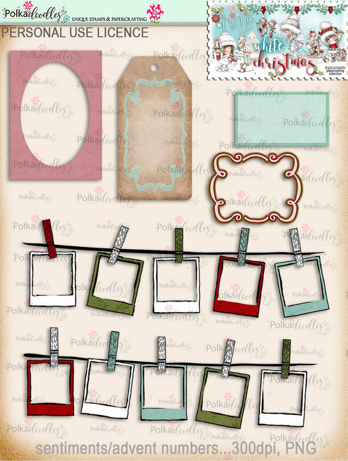 60+ Printable Christmas Tags & Frames - Winnie White Christmas...Craft printable download digital stamps/digi scrap