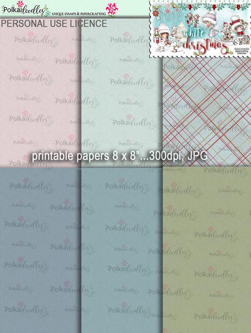 Printable Papers 4 - Winnie White Christmas digi downloads