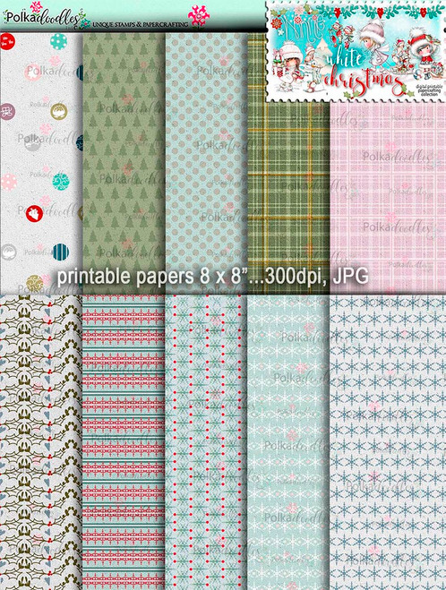 Printable Papers 2 - Winnie White Christmas digi downloads