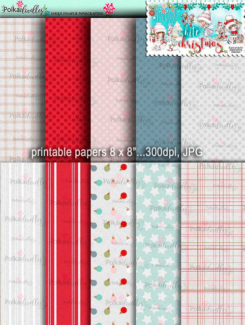 Printable Papers 1 - Winnie White Christmas digi downloads