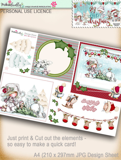 Printable Christmas Design Sheet/toppers - Winnie White Christmas...Craft printable download digital stamps/digi scrap