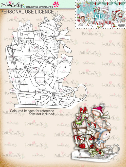 Sleightime Digital Stamp download - Winnie White Christmas printables...Craft printable download digital stamps/digi scrap