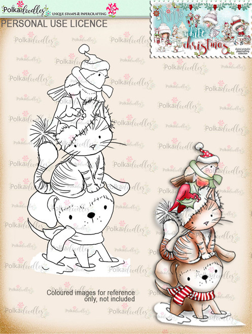 Snowdrift Friends - Cat, Dog, Robin Digital Stamp download - Winnie White Christmas printables...Craft printable download digital stamps/digi scrap