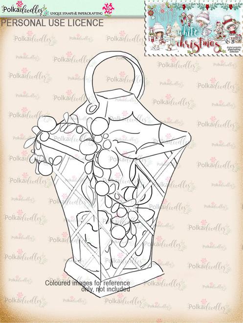 Holly Lantern Digital Stamp download - Winnie White Christmas printables...Craft printable download digital stamps/digi scrap