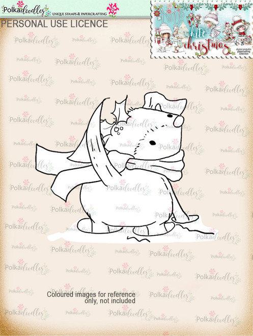 Snowdrift dog Digital Stamp download - Winnie White Christmas printables...Craft printable download digital stamps/digi scrap