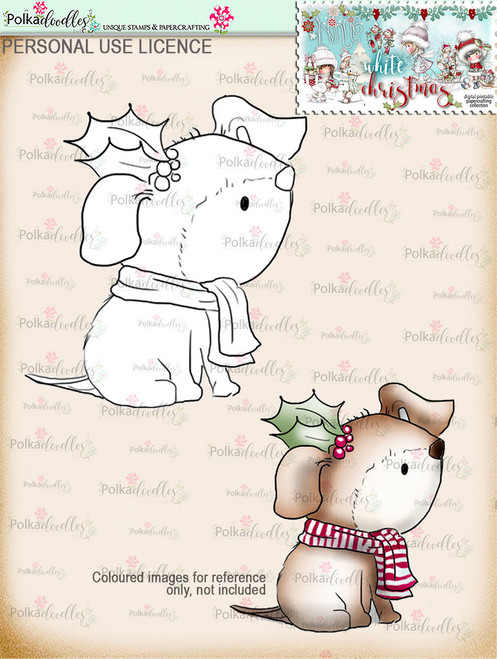 Holly Christmas dog Digital Stamp download - Winnie White Christmas printables...Craft printable download digital stamps/digi scrap