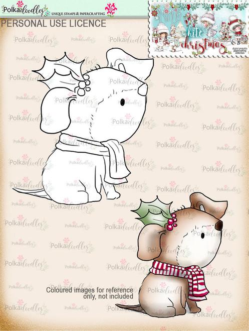 Holly Christmas dog Digital Stamp download - Winnie White Christmas printables...Craft printable download digital stamps/digi scrap